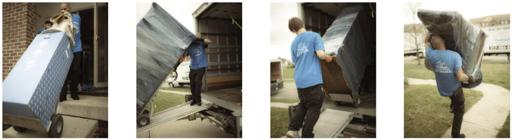 a collage of four different photos showing local movers moving items from a home